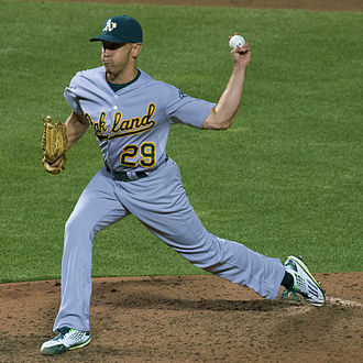 Switch pitcher - Venditte pitching left-handed for the Oakland Athletics in 2015