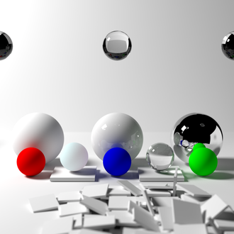 Path tracing - An image rendered using path tracing, demonstrating notable features of the technique.