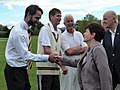 Patsy Reddy and David Gascoigne meeting Grant Elliott, Ewen Chatfield, and MIke Hawke.jpg