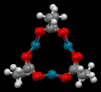 Palladium(II) acetate - Image: Pd(O Ac)2 trimer from xtal Mercury 3D balls A