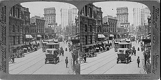 Margaret Mitchell - Stereoscope card showing the business district on Peachtree Street ca. 1907. The Mitchells' new home was about 3 miles from here.