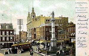 Soldiers and Sailors Monument (Lancaster, Pennsylvania) - 1906 postcard looking west