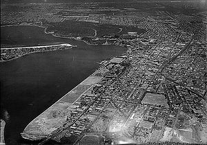 Perth Water -  Aerial view looking west across Perth c1930