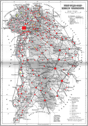 Pest-Pilis-Solt-Kiskun County - Ethnographic map of the county with data of the 1910 census (see key in the description).