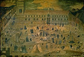 Cuadro de la Epidemia de Peste donde se muestra la multitud delante del Hospital de la Sangre. Hospital del Pozo Santo, Sevilla
