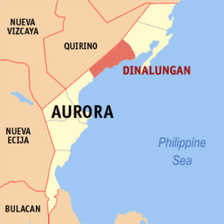 Map of Aurora with Dinalungan highlighted