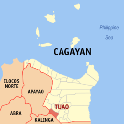 Map of Cagayan with Tuao highlighted