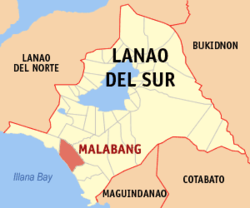 Map of Lanao del Sur showing the location of Malabang
