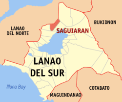 Map of Lanao del Sur with Saguiaran highlighted