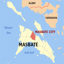 Map of Masbate showing the location of Masbate City.