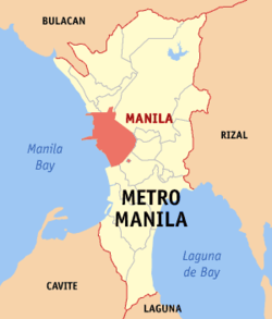 Map of میٹرو منیلا showing the location of the city of Manila