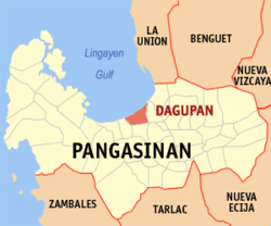 Map of Pangasinan showing the location of Dagupan.