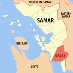 Map of Samar showing the location of Basey.