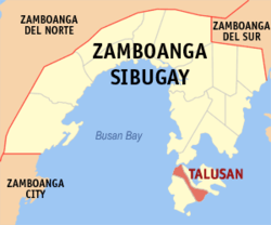 Map of Zamboanga Sibugay with Talusan highlighted