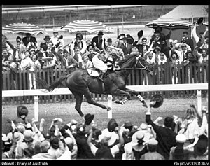 "Australian folklore - Portrayal of Phar Lap winning the 1930 Melbourne Cup, from the 1983 movie ""Phar Lap"""