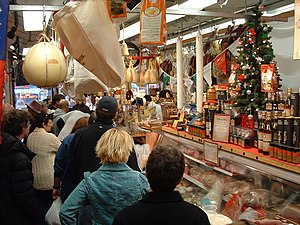 Italian Market, Philadelphia - A weekend crowd during the Christmas season at Di Bruno Bros. cheese shop in the Italian Market