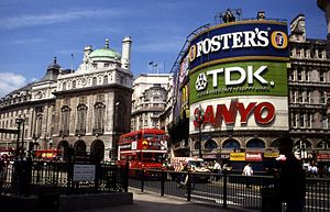 Piccadilly Circus - Signs in 1992