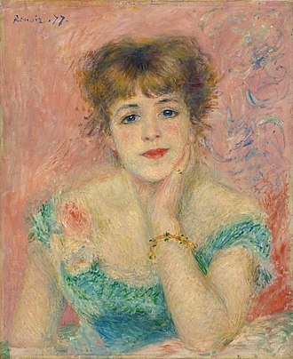 Jeanne Samary - La Rêverie, by Renoir (1877), Puschkin-Museum, Moskow