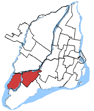 Pierrefonds—Dollard - Pierrefonds—Dollard in relation to other federal electoral districts in Montreal
