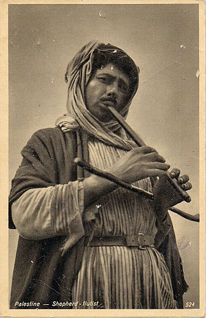Music of Palestine - Palestinian shepherd flutist in traditional dress, c.1910–1920