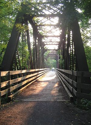 Pine Creek Rail Trail - The rail trail uses a former New York Central Railroad bridge to cross over Little Pine Creek in Waterville