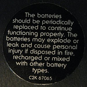 Pulse (Pink Floyd album) - Image: Pink Floyd Pulse Battery Warning Sticker