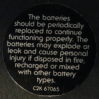 Pulse (Pink Floyd album) - Image: Pink Floyd Pulse Battery Warning Sticker