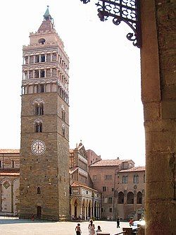 The bell tower of the cathedral in Piazza Duomo