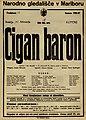 Plakat za predstavo Cigan baron v Narodnem gledališču v Mariboru 27. februarja 1927.jpg