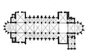 Planta renano-románica de Verdun(Incluida en el Dictionnaire raisonné de l'architecture française du XIe au XVIe siècle, par Eugène Viollet-Le-Duc, 1856.)