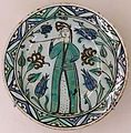 Plate with person smoking a pipe, Iznik, Turkey, 17th century AD, glazed ceramic - Cinquantenaire Museum - Brussels, Belgium - DSC09082.jpg