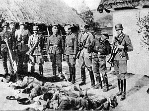 Pacification actions in German-occupied Poland - Image: Polish farmers killed by German forces, German occupied Poland, 1943