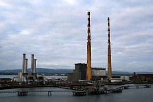 Poolbeg Generating Station - Poolbeg Generating Station seen from ship entering Dublin port