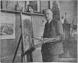 Paul Windhausen in een atelier in Maastricht, 1935.