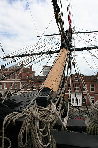 Bowsprit - The bowsprit of HMS Victory ships a pair of athwart spars