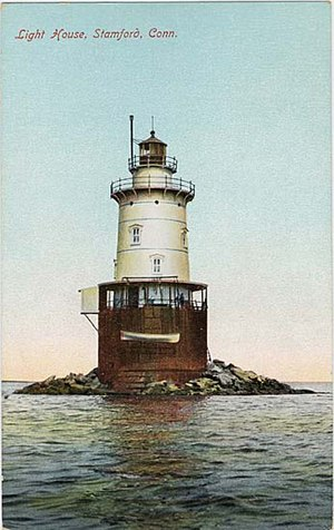 Stamford Harbor Ledge Light - Postcard dated 1912