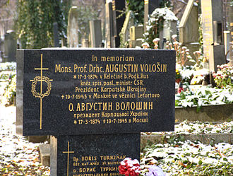 Olšany Cemetery - Tomb of Augustin Vološin, the first and only president of Carpathian Ruthenia