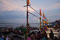 Preparation of Ganga aarti at Dasaswamedh Ghat, Varanasi.jpg