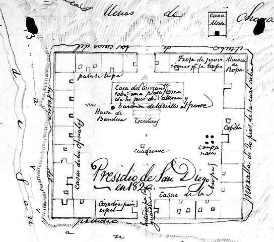 Presidio of San Diego 1820 map