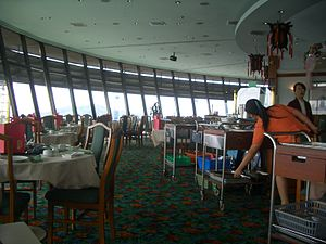 Revolving restaurant - Prima Tower (Singapore) dining area showing an example of a revolving restaurant