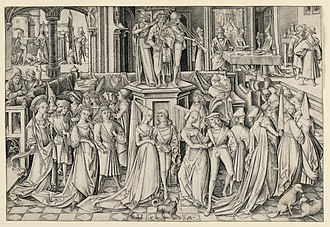 Renaissance dance - Dance at Herod's Court, an engraving by Israhel van Meckenem, c. 1490