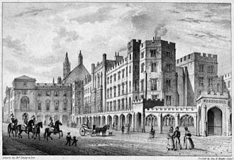 "Palace of Westminster - Parliament before the 1834 fire with Old Palace Yard in the foreground. Vardy's Stone Building is on the left, with Soane's law courts and the south gable end of Westminster Hall visible behind. In the centre is Wyatt's ""Cotton Mill"" frontage of the House of Lords. Soane's ceremonial entrance is on the far-right."