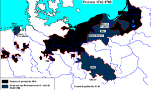 Treaty of Breslau - Prussian annexations under King Frederick II: Silesia in 1742, East Frisia in 1744, Royal Prussia with Netze District during the First Partition of Poland in 1772, Mansfeld in 1780