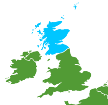 A map of the United Kingdom area, with Scotland colored