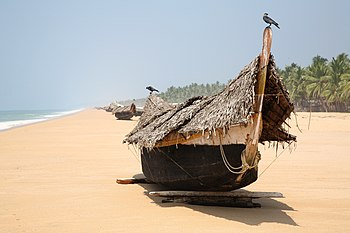 English: Boats on the beach at Poovar in Keral...