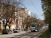 Pyatigorsk tram on Kirova avenue.JPG