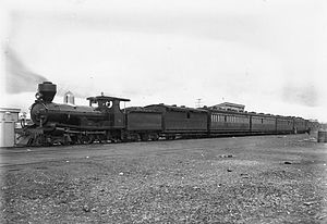 WAGR R class - R152 with a passenger train at Boorabbin, ca. 1905.