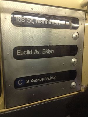 R32/A (New York City Subway car) - Route sign on an R32 running on the C service.