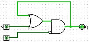 Flip-flop (electronics) - An SR AND-OR latch. Light green means logical '1' and dark green means logical '0'. The latch is currently in hold mode (no change).