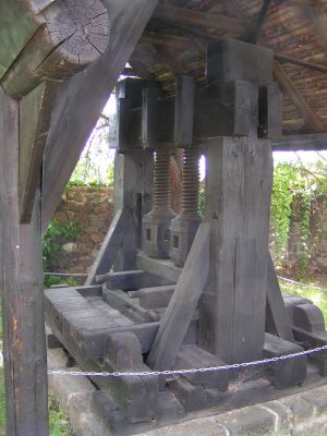 Radebeul - Antique wine press at the Hoflössnitz Castle in Radebeul
